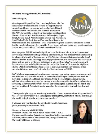 Message from SAPHA President